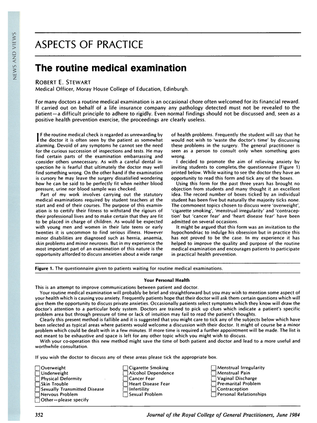 The routine medical examination | British Journal of General