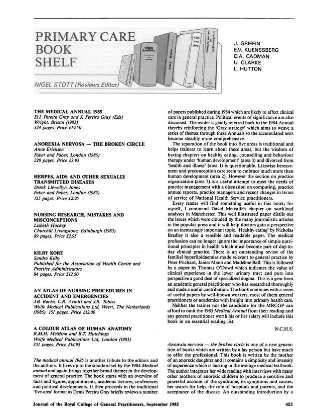 Primary care bookshelf | British Journal of General Practice