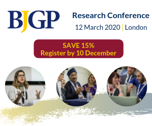 Register by 10 December and save 15% at the BJGP Research Conference, 12 March 2020