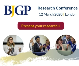 Present your research at the BJGP Research Conference, 12 March 2020